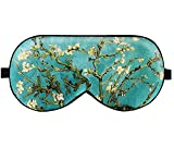 Luxspire Silk Eye Sleep Mask, Light Blocking Mask for Women Men, Soft Eye Cover Eyeshade Blindfold with Adjustable Strap for Sleeping, Travel, Ultimate Sleeping Aid - Almond Blossom