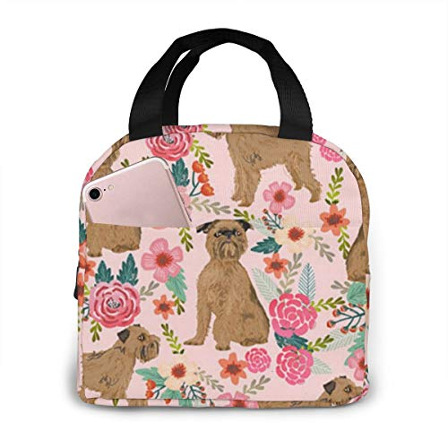 NiYoung Lunchbox Totebox Heat-Resistant Polyester Lunch Container Portable Storage Bag Organizer Brussels Griffon Dog Floral Food Bag for Women Men Kids Girls Boys, Work School Beach