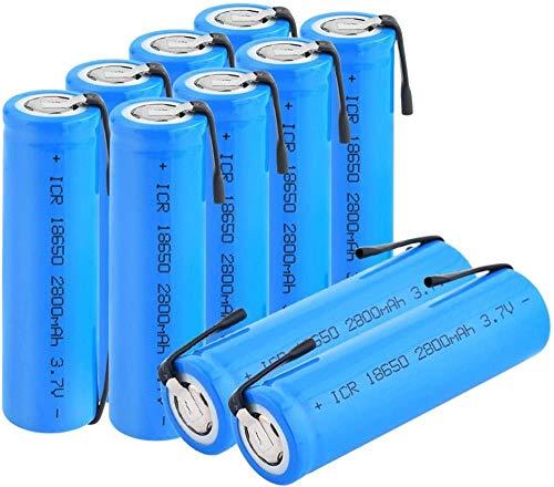 Li-Ion 3.7V 18650 2800Mah Icr 18650 Batería De Litio Recargable con Pestañas para Faros Delanteros para Laptop-10Pcs
