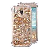 Carcasas Galaxy A5 2017 Liquid Móvil Teléfono Funda, Rosa Funda Samsung Galaxy A5 Silicona Transparent Bumper Case con Bling estrella brillante Case antideslizante Resistente a arañazos Carcasa