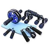 TOMSHOO Fitness Geräte, AB Roller Bauchtrainer und Rutschfester Kniematte Fitness Geräte für Zuhause -Tragbare Geräte für Heimtraining Muskelkraft Fitness (5-IN-1 Type1)