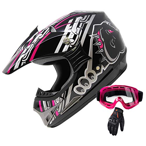 X4 ATV Motocross Dirt Bike Mountain Bike Helmet Off Road MX Helmet Combo with Goggles and Gloves M405 (128 Pink, L)