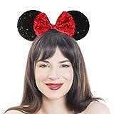 Brandsseller Pailletten Haarreif mit großen Ohren und Schleife- Verkleidung - Maus - Schwarz/Rot