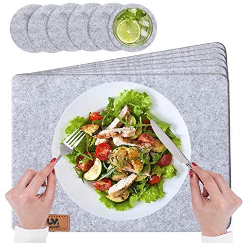 UMAIRIF® Eckige Platzset, Tischset Abwaschbar Filz 44x32cm | 12er Set Platzdeckchen Grau | 6 Platzteller, filzuntersetzer | 6 Glasuntersetzer, getränkeuntersetzer rund 10cm | TIschuntersetzer