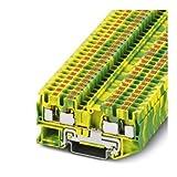 Phoenix Safe PT 4 Quattro-PE - Terminal de toma de tierra (4 pines, 24 → 10 AWG, 1 unidad), color verde y amarillo