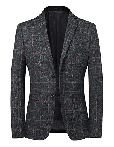 chouyatou Men's British Style Elbow Patch Plaid Suit Blazer Jacket Sport Coat (Large, Dark Grey)