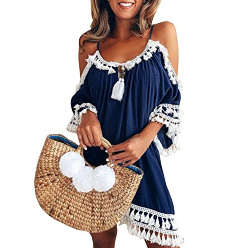 Longra Damen Schulterfrei Sommerkleid Strandkleider Spaghetti Strap Tunika Minikleid Bohemian Kleider mit Quasten Damen Vintage Strandtunika A-Linie Kleid Frauen Bademode (S, Navy)