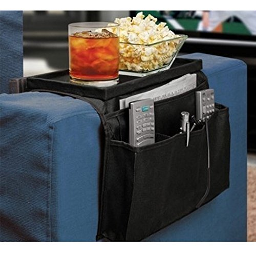 6 Pockets TV Remote Control Organizer, Home Sofa Console Folding Table Slipcover Drapes Over Arm Caddy Holder Desk Chair Armrest Hanging Storage Bag for Cellphone,Tray,Tea Cup,Pen,Magazine& Snacks