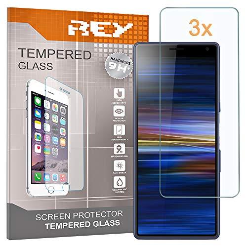 REY 3X Protector de Pantalla para Sony Xperia 10, Cristal Vidrio Templado...
