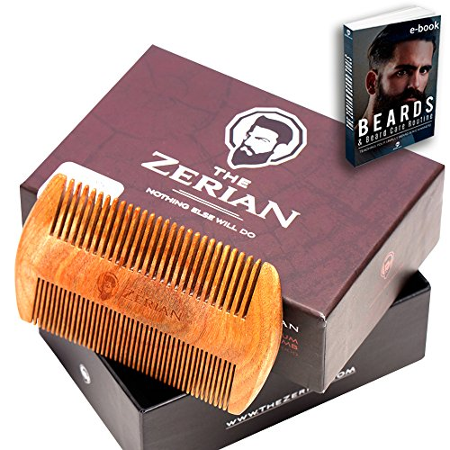 Beard Comb -Fine & Coarse Tooth – Handmade Genuine Sandalwood Brush for Hair – Smells Amazing – Anti-Static – For Stylish Beard & Mustache Grooming- Best Premium Giftbox Set & BONUS a Digital Booklet