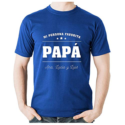Regalo Personalizado para el día del Padre: Camiseta de Color Azul con la Frase 'Mi Persona Favorita' Personalizado con la dedicatoria Que tú Quieras.