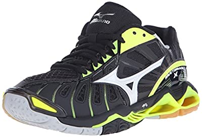 Mizuno Women's Wave Tornado x-w Volleyball Shoe, Black/Neon Yellow, 7 B US