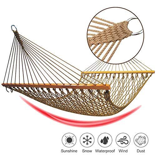 EnweLampi Anti Roll Mesh Hammock with Double Wooden Rod, Nylon Weave, Complete Large Capacity Camping Hammocks for Travel Guest Leisure,Single