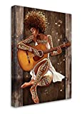 African American Women Wall Art Black Girl Playing Guitar Inspirational Painting Canvas Decor Modern Artwork Home Decoration For Living Room Bedroom Office Decor Framed Ready to Hang 16x24 Inch