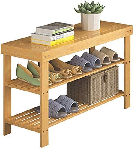 YLCJ Schoenenrek, 2 niveaus, voor rek van bamboe, natuurlijke kleuren, 6 paar schoenen, 80 x 28 x 45 cm (breedte x diepte x hoogte)