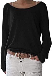 MK988 Women Top Crewneck Long Sleeve Fashion Loose Fit Solid Tee Shirts Blouse Top