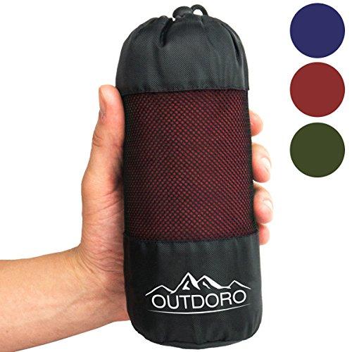 Outdoro - Sac de couchage de refuge - Ultra léger -Seulement 350g - En microfibre - Avec compartiment pour coussin - Coutil et drap de voyage intégrés-Fin et petit, rouge