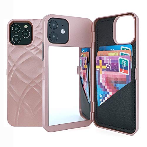 """iPhone 12 Case,W7ETBEN Hidden Back Mirror Wallet Case with Stand Feature and Card Holder for Apple iPhone 12 2020, 6.1"""" (Rose Gold)"""