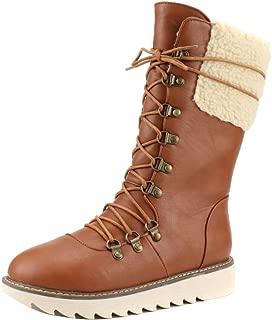 ELEEMEE Women Fold Lace Up Mid Calf Boots