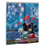 Mickey Cartoon Minnie Maus Haushalt Badezimmer Badewanne Duschvorhang Druck Wasserdicht Neu Haken 152,4 x 182,9 cm Kunststoff