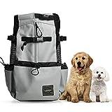 Woolala Mochila ligera para mascotas para perros pequeños y medianos, bolsa segura aprobada por veterinarios para viajes – fácil de llevar ahorro de espacio – gris M