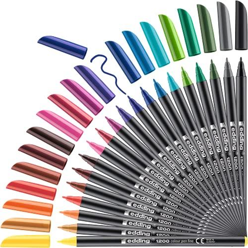 Edding 1200 rotulador de color de trazo fino - set 20 colores brillantes - punta redonda de 1 mm - marcador dibujar y escribir