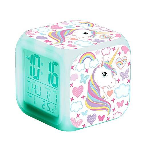 Einhorn Wecker Digital Mädchen Kinder Einhornwecker LED Night Uhr Beleuchteter Nachttischuhr mit Datum Temperaturanzeige (J)