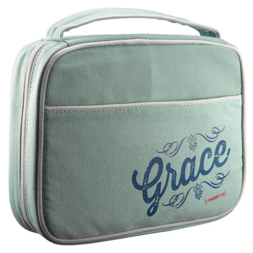 """Retro Blessings """"Grace"""" Washed Cadet Blue Canvas Bible / Book Cover (Medium) Photo #2"""