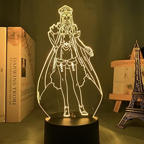 Lâmpada de ilusão 3D para crianças, luz noturna 3D, lâmpada de anime 3D, Akame Ga Kill Esdese para decoração de quarto, luz de LED noturna, presente de aniversário, Waifu Mangá, luz de LED Esdeath HUICH