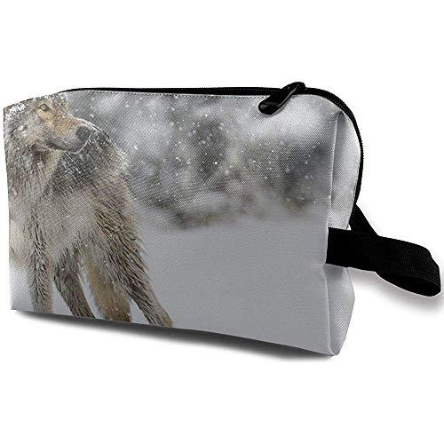 Voyage Cosmetic Bag Portable Sac À Main Snow Wolf Trousse De Toilette Petit Maquillage Sacs Cas Organisateur