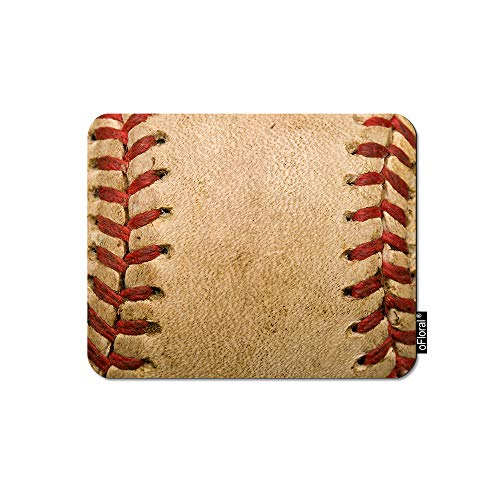 oFloral Baseball Gaming Mouse Pad Sport Worn Ball Brown Leather Red Lines Baseball Decorative Mousepad Rubber Base Home Decor for Computers Laptop Office Home 7.9X9.5 Inch