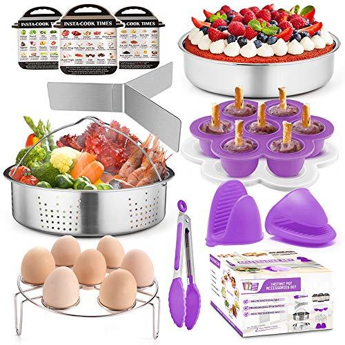 TeamFar Pressure Cooker Accessories, 8 / 6qt Air Fryer Crock Pot Accessories, Healthy & Non Toxic, Functional & Versatile, Dishwasher Safe & Easy Clean - 12 Pieces