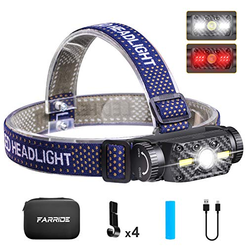 FARRIDE Rechargeable Headlamp, 1200 Lumen Ultra Bright LED Headlamp with Motion Sensor, COB 2 in 1 Safety Headlamp Flashlight with Red Light, IP65 Waterproof Head Light for Camping, Hiking, Outdoors