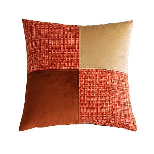 QXbecky Fundas de Cojines Funda de Almohada Cuadrada de Color de Contraste de Costura de Terciopelo holandés sin Funda de Almohada de Microfibra de decoración de sofá Central 50cm