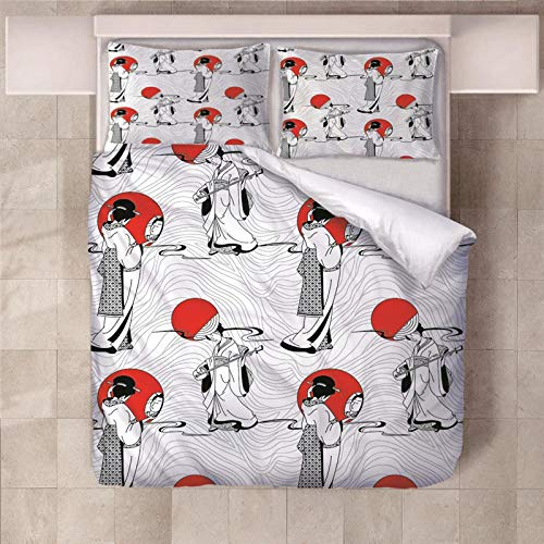 PERFECTPOT Single Duvet Cover Set Beautiful Girl Printed Bedding Duvet Cover Set in Polyester Quilt Bedding Sets with 2 Pillowcases for Adults Kids Children, 140x200cm