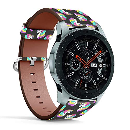 Replacement Leather Printing Wristbands Compatible with Galaxy Watch3 (45mm) / Galaxy Watch (46mm), Standard 22mm Strap - Rainbow Unicorn