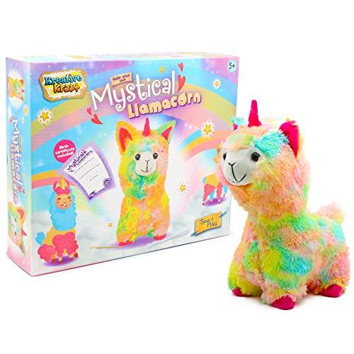 KreativeKraft Kit de Coser Peluche Llamacorn Llama Unicornio de Colores | Regalo Original Educativo y Creativo | Manualidades de Costura y Relleno | Set de Costurero - Juguete para Niños y Niñas