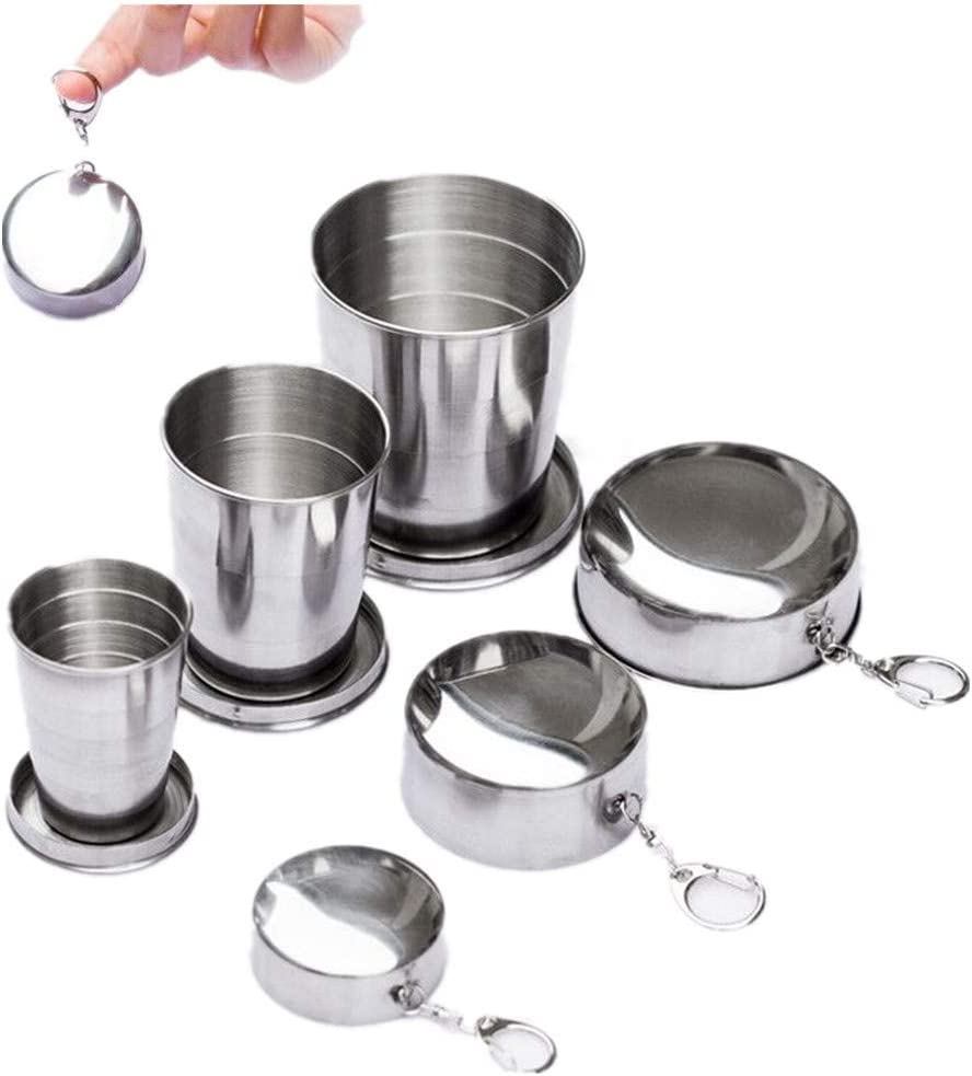 Max 62% OFF Gtell 3 Pack Stainless Steel Folding Portable travel security Cup Camping
