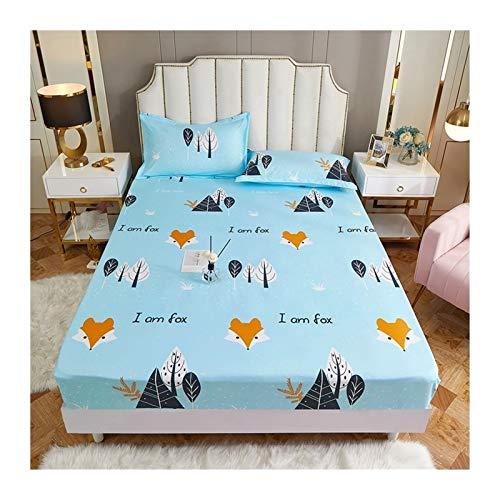 TYLJ MYBHD Impreso de poliéster colchón de la Cama Set con Cuatro Esquinas y Banda elástica de Las Hojas (Color : Shishangqingkong, Size : 90X200X25cm)