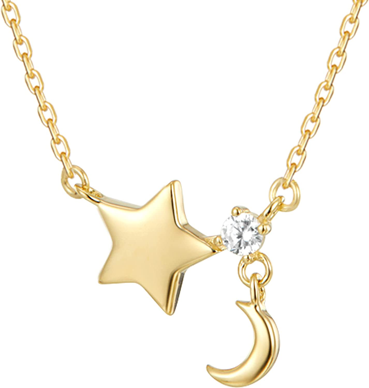 T TOSSINY Moon Star Necklaces for Womens Girls 18K Gold Plated Simple Crescent Pendant Lariat Y Necklace Jewelry Gifts for Her