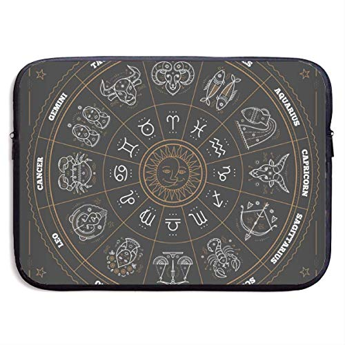Zodiac Circle with Horoscope Signs Thin Line Laptop Bags 15″ Netbook Tablet,Sleeve Briefcase Carrying Handbag Sleeve Case Cover