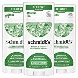 Schmidt's Aluminum Free Natural Deodorant for Women and Men, Jasmine Tea for Sensitive Skin with 24 Hour Odor Protection, Certified Cruelty Free, Vegan Deodorant, 3.25 oz, 3 pack