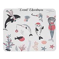 海のクリスマスマウスパッドサンタハットのプルオーバーシールのマーメイドメリークリスマスを祝う縞模様のスカーフのボールクジラとイッカクカスタマイズされた長方形滑り止めラバーゲーミングマウスマット