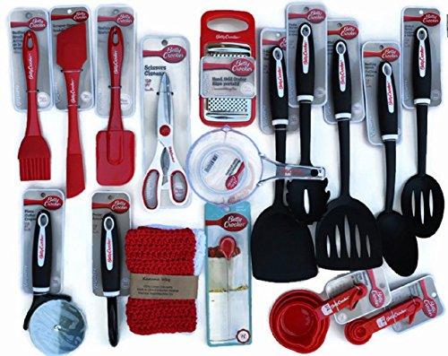 Betty Crocker Gadgets de cocina, utensilios de cocina, Herramientas, suministros, Essentials con recetas, algodón tela a mano trapos y Bonus Betty Crocker–Probador de...