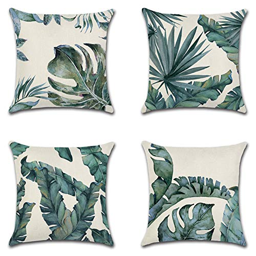 Artscope Set of 4 Decorative Throw Pillow Covers 18x18 Inches, Tropical Plants Waterproof Cushion Covers, Perfect to Outdoor Patio Garden Living Room Sofa Farmhouse Decor