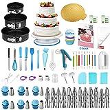 Kit di decorazioni per torte, Uarter 290 pezzi decorazioni per torte con supporto girevole, set di teglie, accoppiatore, glassa, sacchetti per tubazioni, spatola per glassa, utensile per pasticceria