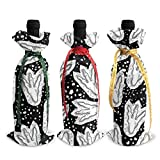 Bolsas para botellas de vino con diseño de huellas de dinosaurio, 3 unidades, para decoración de mesa de vacaciones talla única Como se muestra en la imagen