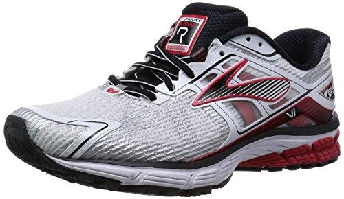 Brooks Men's Ravenna 6 White/High Risk Red/Black Athletic Shoe