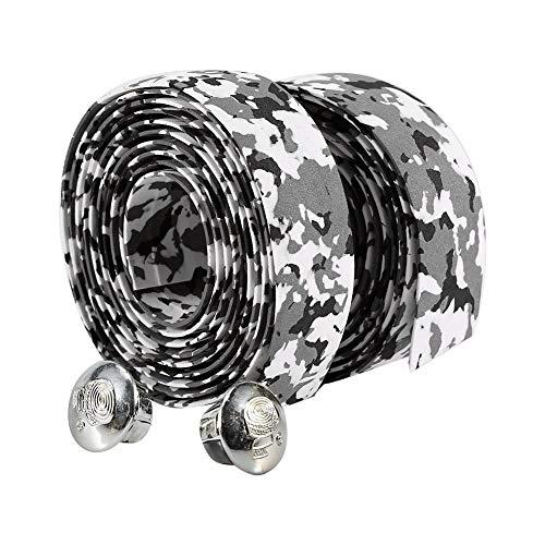 Fdit 2 STÜCKE wasserdichte Fahrrad Bar Typ, rutschfeste Radfahren Rennrad Fahrrad Lenker Reflektierende Grip Wrap Tape + 2 Bar Plugs(Schwarz + Weiß) MEHRWEG Verpakung