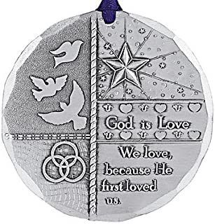 Wendell August God is Love Religious Ornament - Hand-Hammered Aluminum Hanging Ornament – Collectable Keepsake Gift - Made in USA Tree Decoration